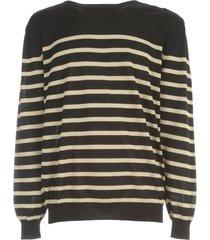 balmain striped cotton pullover