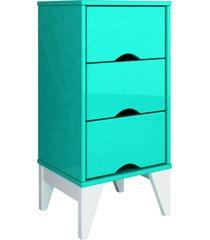 mesa de cabeceira 3 gav. twister aqua/branco tcil mã³veis - verde - dafiti