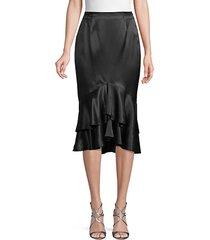 ruffled silk pencil skirt