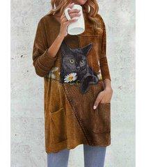 fashion cat print o-collo manica lunga plus camicetta con tasche