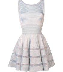 alaïa pre-owned lurex knit flared dress - silver