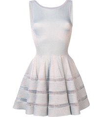 alaïa pre-owned lurex knit flared dress - silver