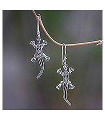 sterling silver dangle earrings, 'walking lizard' (indonesia)