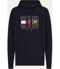 tommy hilfiger men's big and tall icon organic cotton world badge hoodie desert sky - xxxl