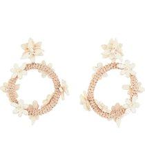 floral woven hoop earrings