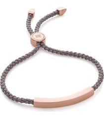 linear friendship bracelet, rose gold vermeil on silver