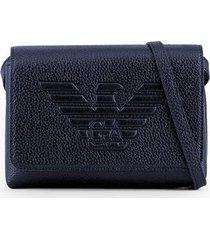 emporio armani maxi logo blue shoulder bag