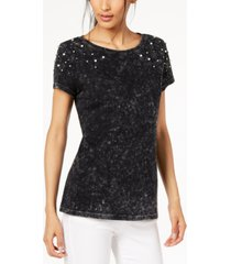 inc cotton faux-pearl-embellished t-shirt, created for macy's