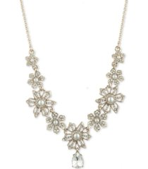 """marchesa gold-tone crystal & imitation pearl flower lariat necklace, 16"""" + 3"""" extender"""