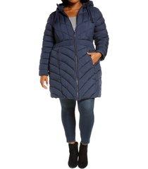 plus size women's bernardo packable hooded walker coat, size 3x - blue