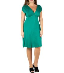 24seven comfort apparel women's plus size short sleeve empire waist dress