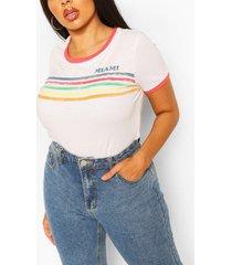 plus miami rainbow slogan ringer t-shirt, white