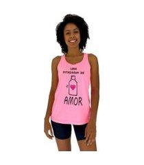 regata feminina alto conceito uma pitadinha de amor rosa flúor