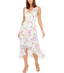 calvin klein surplice floral-print midi dress
