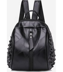 casual rivet quilted solid pu backpack