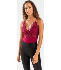 daisie bralette bodysuit - burgundy