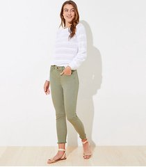 loft frayed high rise skinny crop jeans