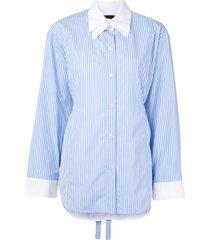 eudon choi double-collar striped shirt - blue