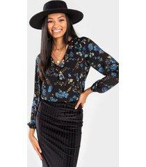 sunnie floral surplice bodysuit - black