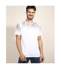 camiseta masculina floral degradê manga curta gola careca branca