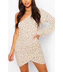 ditsy gebloemde one-shoulder mini-jurk, steenrood