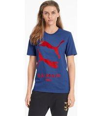 puma x balmain graphic t-shirt, blauw, maat xxs
