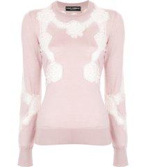dolce & gabbana chantilly lace sweater - pink