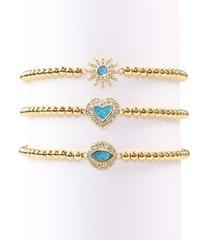 eye candy la women's luxe 3-piece goldtone, blue opal & crystal bracelet set