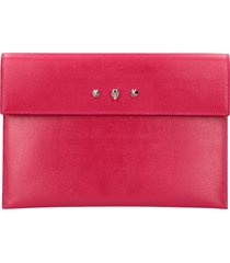 alexander mcqueen logoed flat leather pouch