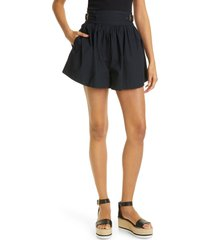 women's ulla johnson adeline cotton poplin shorts, size 2 - black
