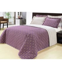 colcha / cobre leito cama king lilas em algodão percal 200 fios com 03 peças - cobreleito versátil - bernadete casa,