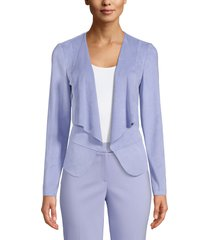 anne klein drape front faux suede jacket, size x-small in high sky at nordstrom