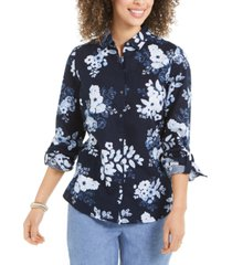 charter club floral-print linen-blend shirt, created for macy's