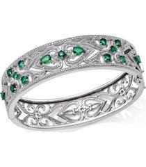 emerald(2-1/2 c.t. t.w.) & diamond(1/3 c.t. t.w.) bangle bracelet in sterling silver