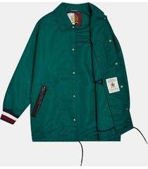 tommy hilfiger men's icon coach jacket green - xs