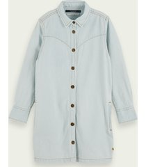scotch & soda 100% cotton long sleeve denim shirt dress