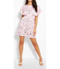 bloemenprint skater jurk met mantel, roze