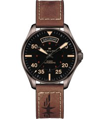 hamilton khaki aviation automatic leather strap watch, 42mm in brown/black at nordstrom