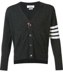 thom browne 4-bar short cashmere cardigan - grey
