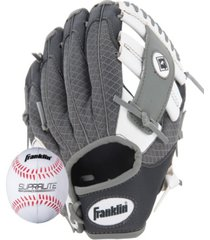 "franklin sports 9.5"" teeball meshtek glove & ball set black/white/grey-left handed"