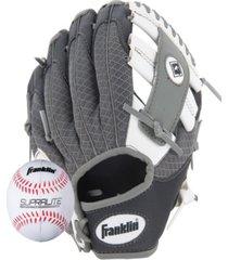 """franklin sports 9.5"""" teeball meshtek glove & ball set black/white/grey-left handed"""