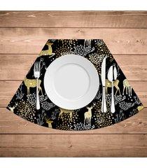 jogo americano para mesa redonda wevans rena dourada kit com 4 pçs