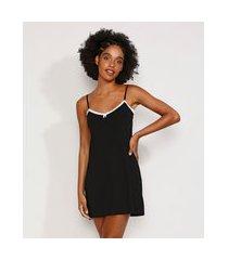camisola feminina com renda alça fina preta