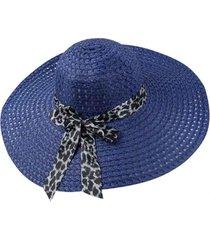 chapéu artestore aba larga casual e praia azul com faixa animal print