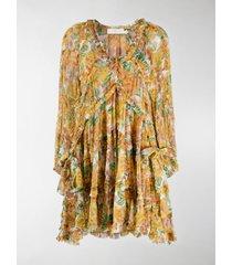 zimmermann all-over floral print flared silk dress