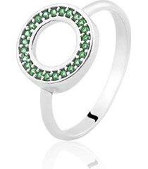 anel de prata zircônia redondo verde life - feminino