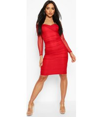 dobby off shoulder ruched bodycon midi dress, red