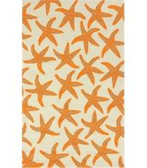 surya rain rai-1136 bright orange 3' x 5' area rug, indoor/outdoor