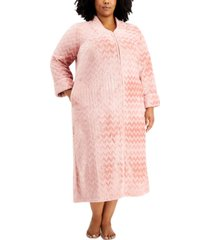 charter club plus size chevron long zip front cozy robe, created for macy's
