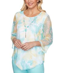 alfred dunner women's missy spring lake floral mesh top